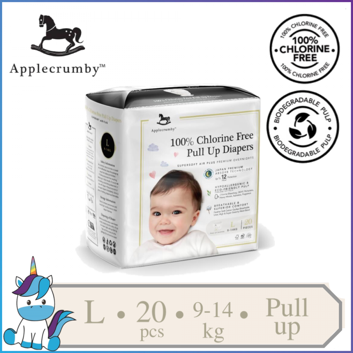 Applecrumby™ Chlorine Free Premium Baby Pull Ups Diapers Size L || 20 pieces (9-14kg)