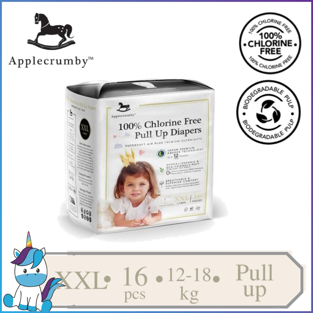 ApplecrumbY Chlorine Free Premium Baby Pull Ups Diapers Size XXL - 16 pieces (>18kg)