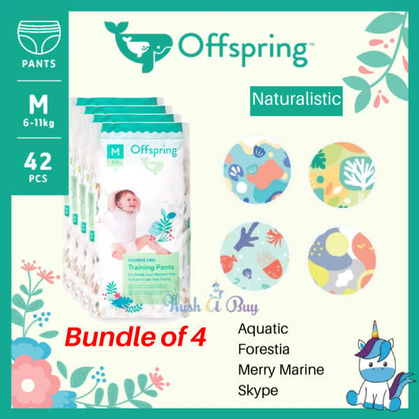Offspring Chlorine-free Baby Diapers PANTS - Bundle of 4 Different Design - Size: S / M / L / XL