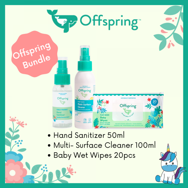Offspring Back-To-School Bundle Set - Wet Tissue 20pcs + Hand Sanitiser 50ml + Multi-Surface Cleaner 100ml