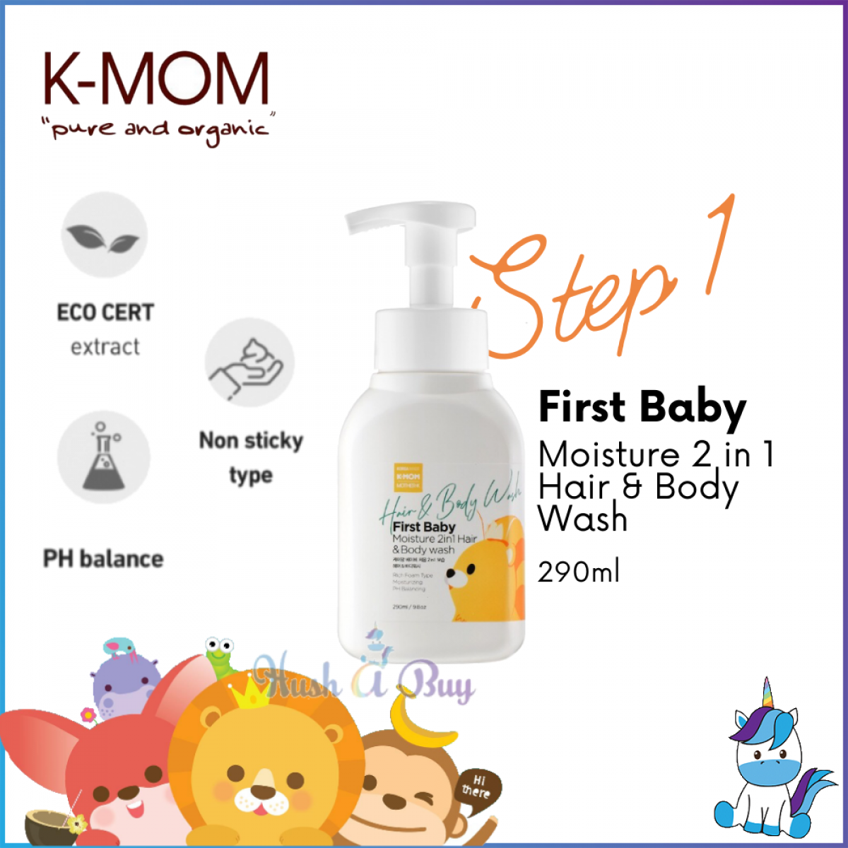 K-Mom First Baby Moisture 2 in 1 Hair and Body Wash Foam 290ml - STEP 1