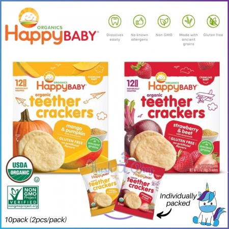 Happy Baby Organic Baby Teether Crackers (48g) -Mango Pumpkin/Strawberry Beet (EXPIRY: 14/3/2021)