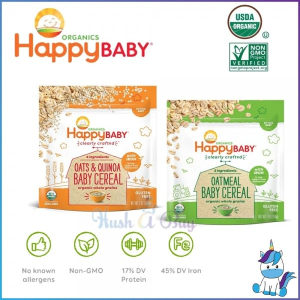 Happy Baby Organics Whole Grains Baby Cereal (Oatmeals / Oats & Quinoa)198g - 6+ MONTH
