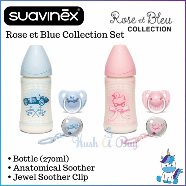 Suavinex Rose and Blue Collection Set BPA Free  Wide Neck Medium 1 Silicone Anatomical Feeding Bottle+Pacifier+Clip 270ml 0-6m (Blue/Pink)