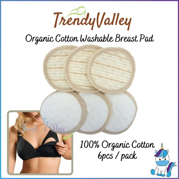 Trendy Valley Organic Cotton Waterproof Washable Breast Pad - 6pcs/pack
