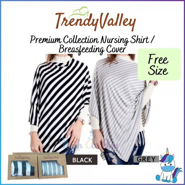 Trendy Valley Premium Collection Nursing Shirt / Breastfeeding Cover - Black / Grey Strip