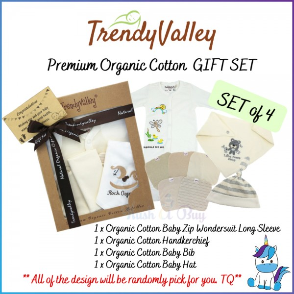 Trendy Valley Premium Organic Cotton Gift Set Of 4(Baby Zip Wondersuit+Handkerchief+Baby Bib+Baby Hat)