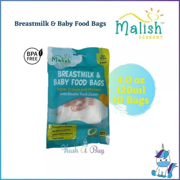 Malish Eco Breastmilk & Baby Food Bags 4.0oz (120ml) 10 Bags