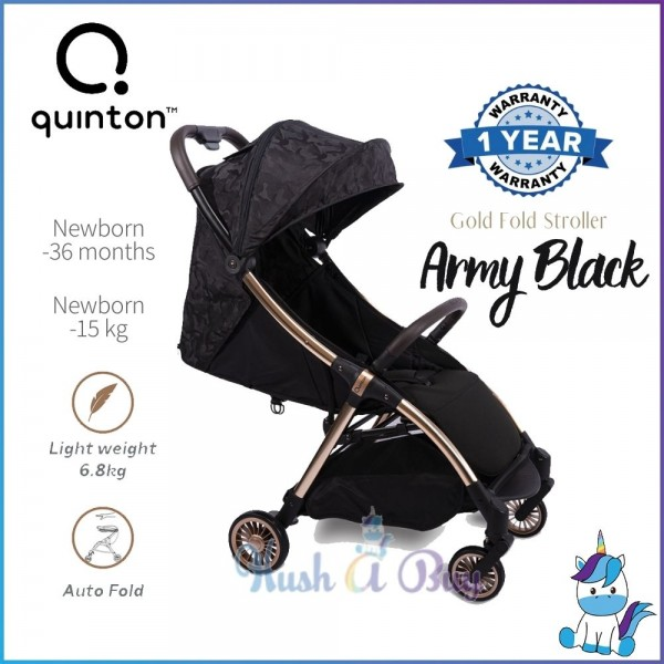 Quinton Gold Fold Stroller - Navy Blue / Army Black (1 Year Warranty)