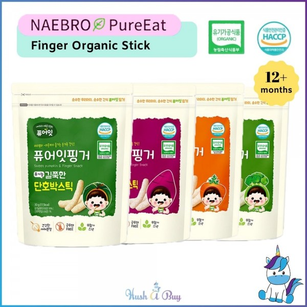 Naebro Pure-Eat Finger Organic Stick - 4 Flavors (30g) 12+months - Made in Korea
