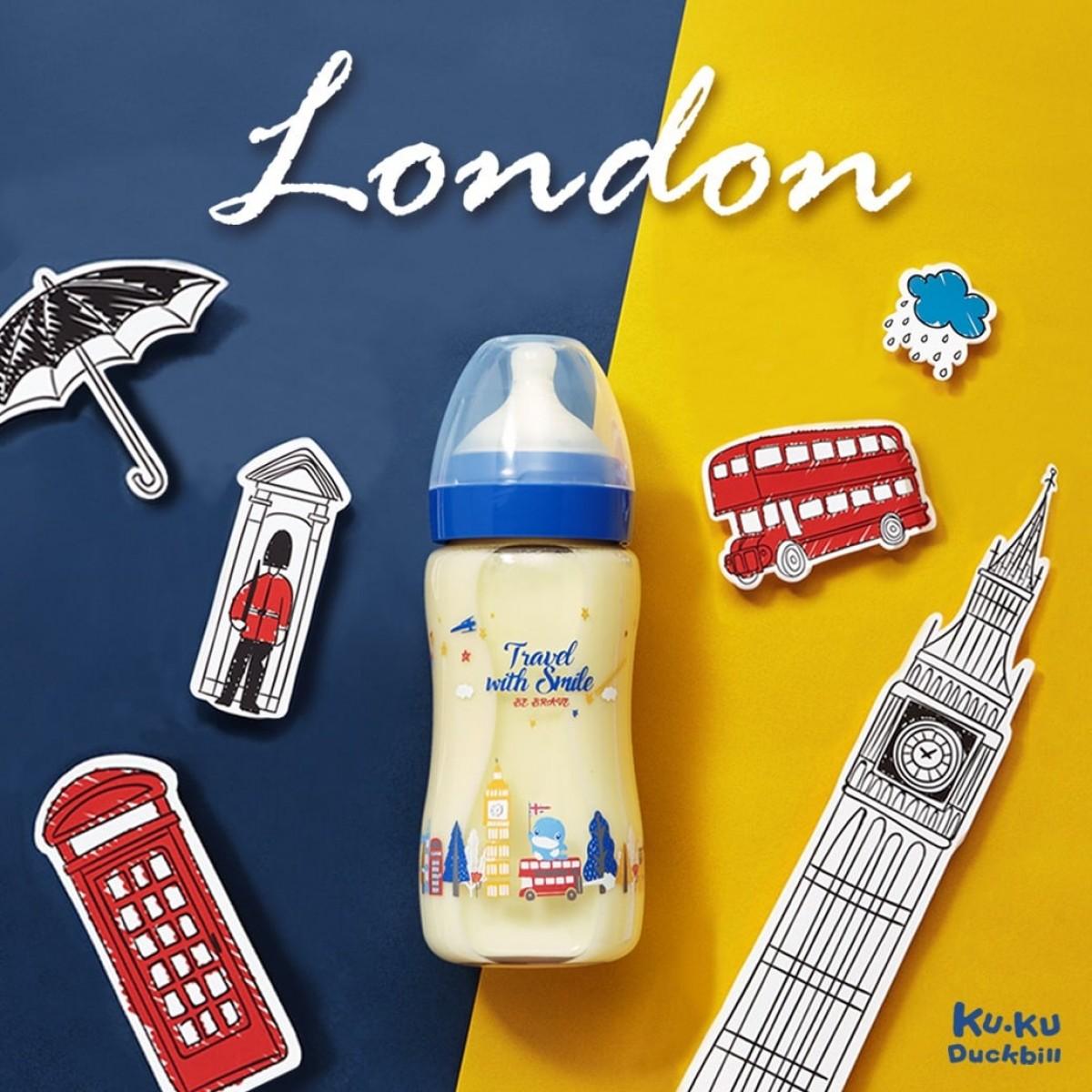 Kuku Duckbill Travel with Smile PPSU Wide Neck Feeding Bottle France / London: S+Cross-Cut
