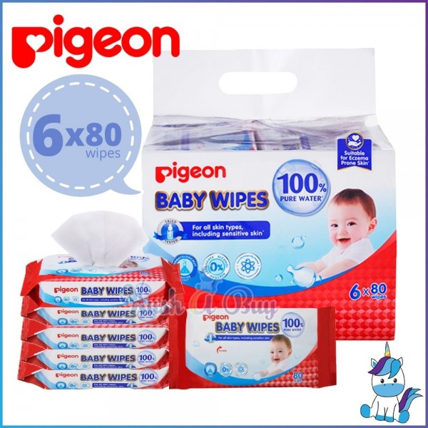 Pigeon Baby Wipes 100% Pure Water (6pack x 80wipes)