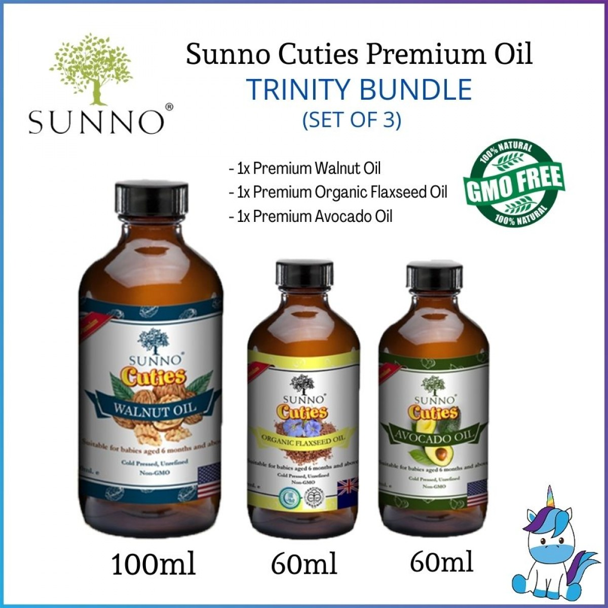SUNNO Cuties Cold Pressed Oil Series Premium Oil (Suitable for babies & adults) 60ml / 100ml / 250ml