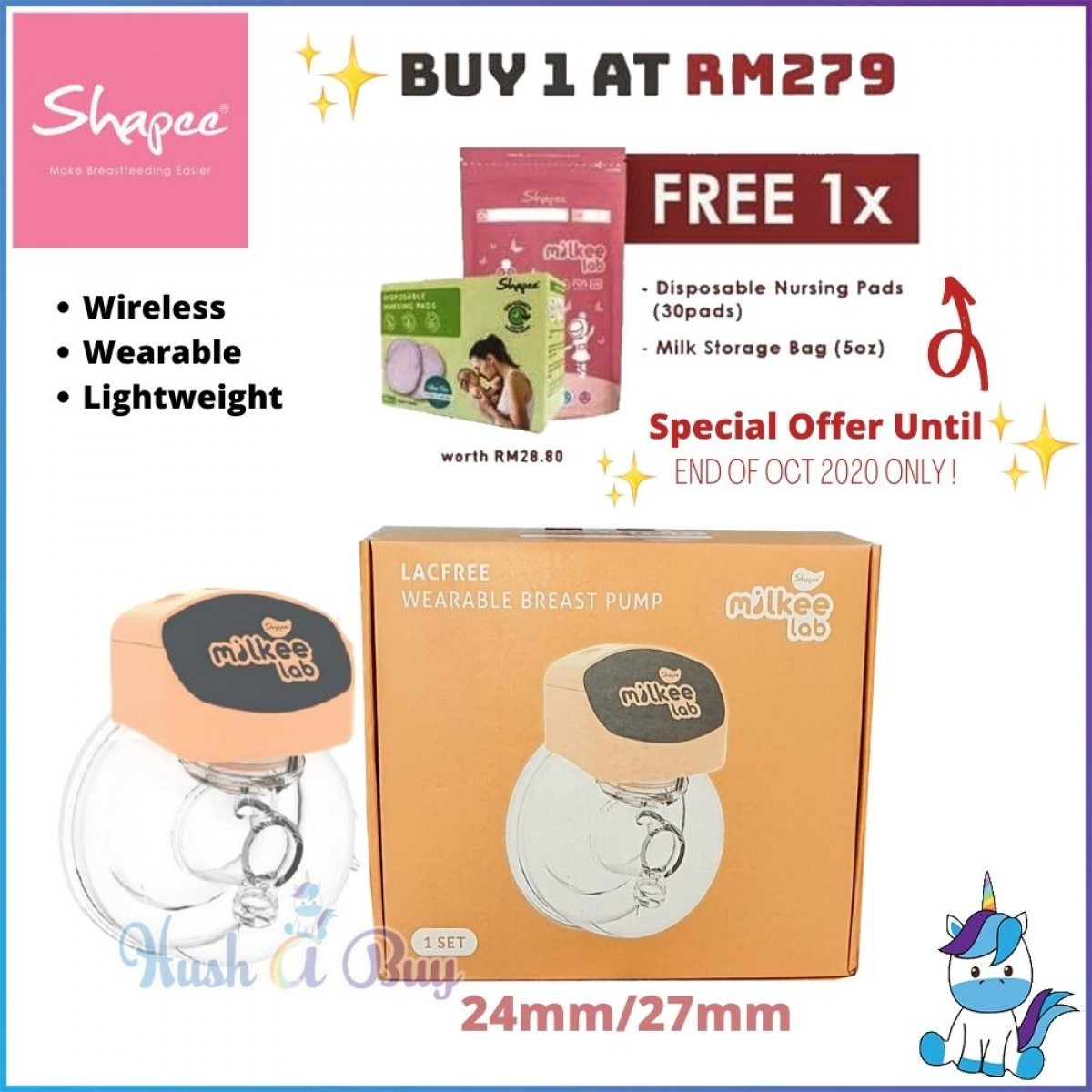 Shapee Milkee Lab Lacfree Electric Wearable Breast Pump 24mm / 27mm - 1 Year Warranty