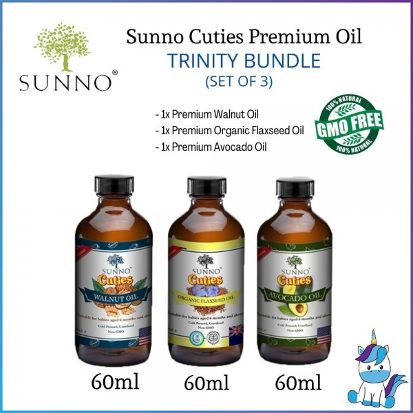 SUNNO Cuties Cold Pressed Oil Series Trinity Bundle (Walnut, Organic Flaxseed & Avocado Oil) 60ml