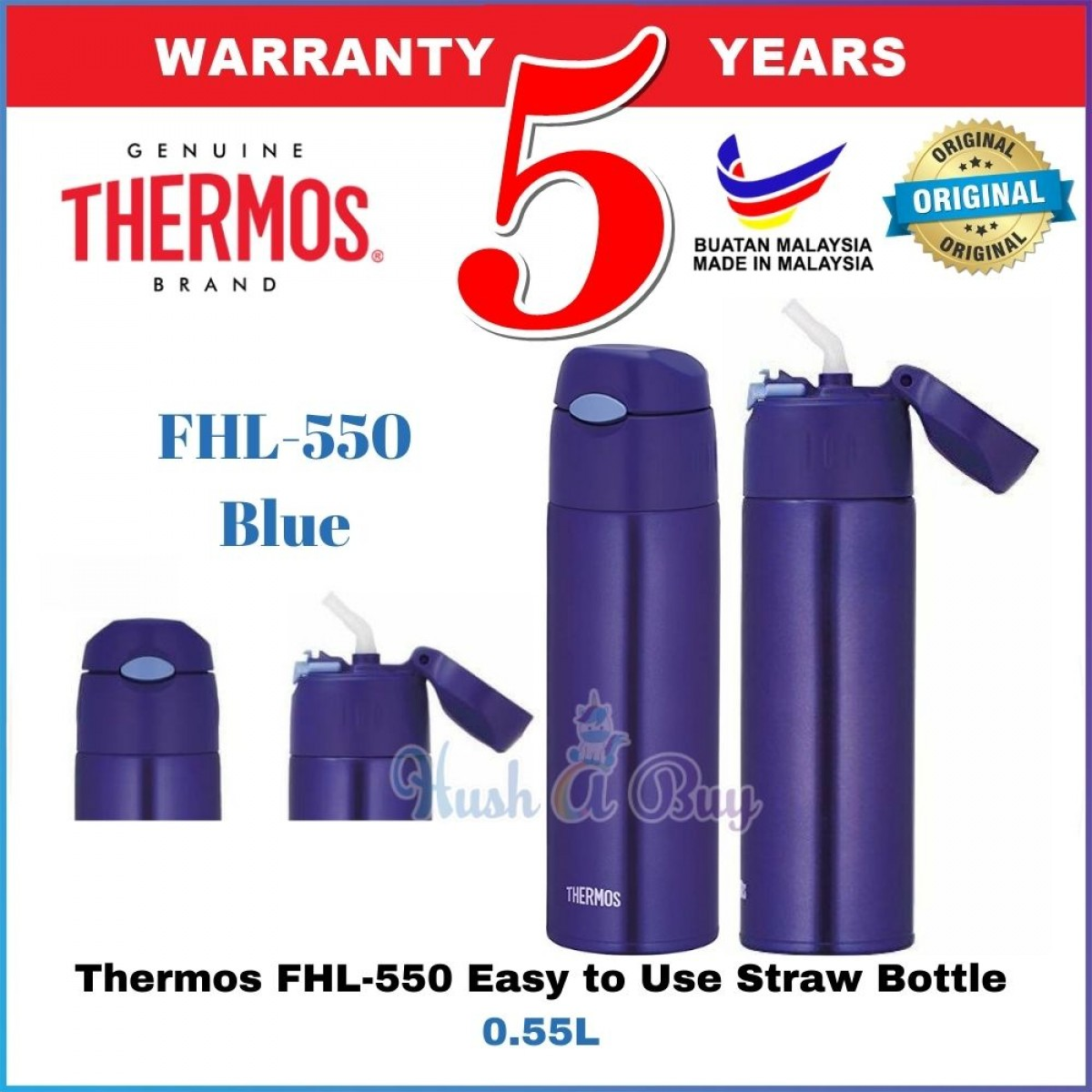 Thermos FHL-550 Easy to Use Straw Bottle 0.55L - 5 Years Warranty by Thermos Malaysia