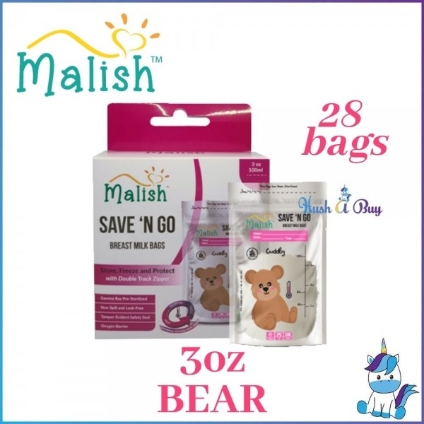 Malish Save N Go Thermal Sensor Breast Milk Bags (BPA FREE) 28bags - 3oz