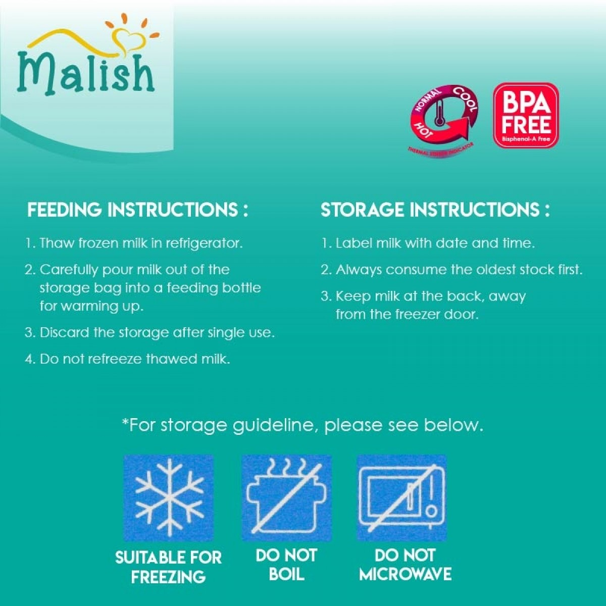 Malish Save N Go Thermal Sensor Breast Milk Bags (BPA FREE) 28bags - 3oz