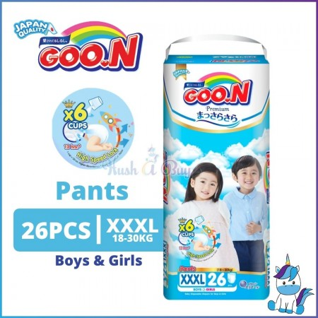 Goo.N Goon Premium Pants Diapers for Boy & Girl  - XXXL Super Jumbo Pack - 18-30kg (26pcs) - Japan Quality