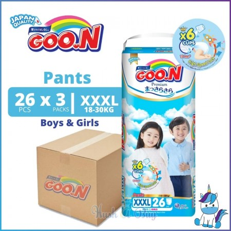 1 CTN (3 Packs) Goo.N GOON Premium Pants Diapers (for Boy & Girl)  - XXXL Super Jumbo Pack - 18-30kg (26pcs) - Japan Quality
