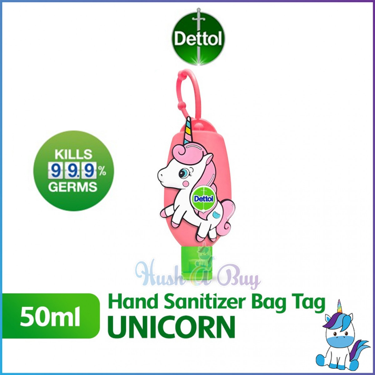 Dettol Hand Sanitizer Bag Tag 50ml - UNICORN / DINO (Limited Edition)