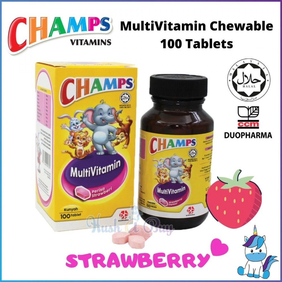 Champs Vitamin C/ Multivitamin 100mg - 100 tablet - Orange | BlackCurrent | Strawberry (HALAL)