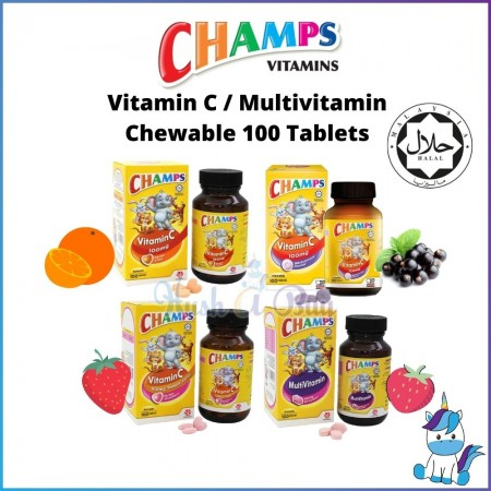Champs Vitamin C/ Multivitamin 100mg - 100 tablet - Orange | BlackCurrent | Strawberry (HALAL)