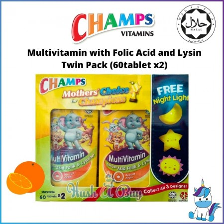 Champs Multivitamin with Folic Acid and Lysin (HALAL) - Twin Pack (60tablet x2) FREE Night Light