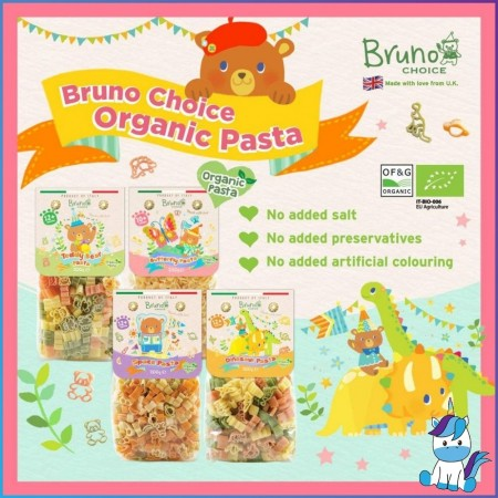 Bruno Choice Organic Pasta: Teddy Bear / Dinosaur / Rabbit 200g (For 12+ months baby)