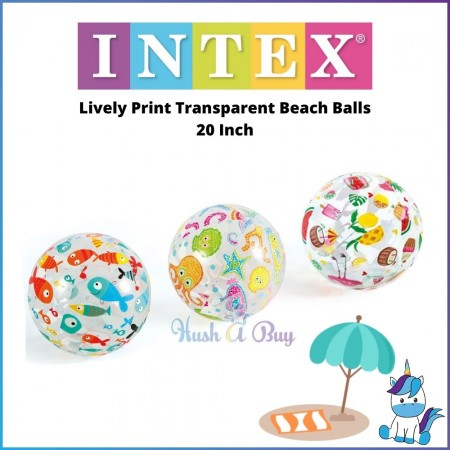 INTEX Lively Print Transparent Beach Balls 20 Inch / Giant Colorful Stripes Beach Ball 42 Inch For Kids