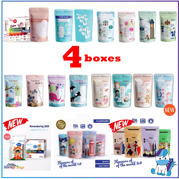 NEW! 4 BOXES - Milk Planet Breastmilk Storage Bag PREMIUM 5oz 7oz 10oz (112 bag)