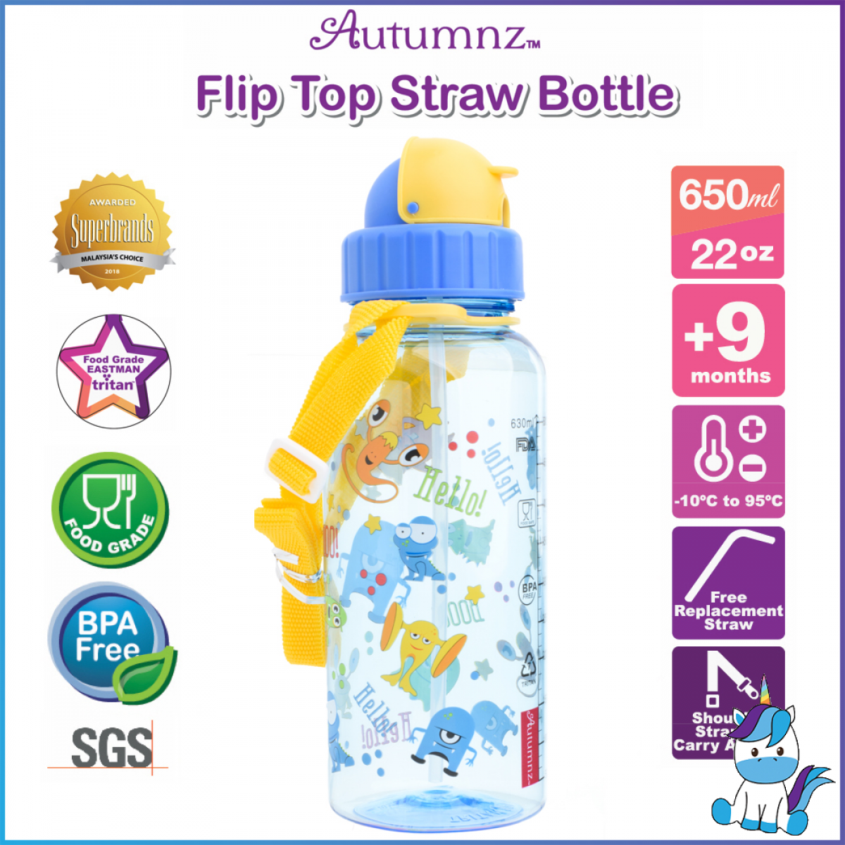 Autumnz Food Grade Eastman Tritan Drinking Bottle with Straw and Strap 650ml