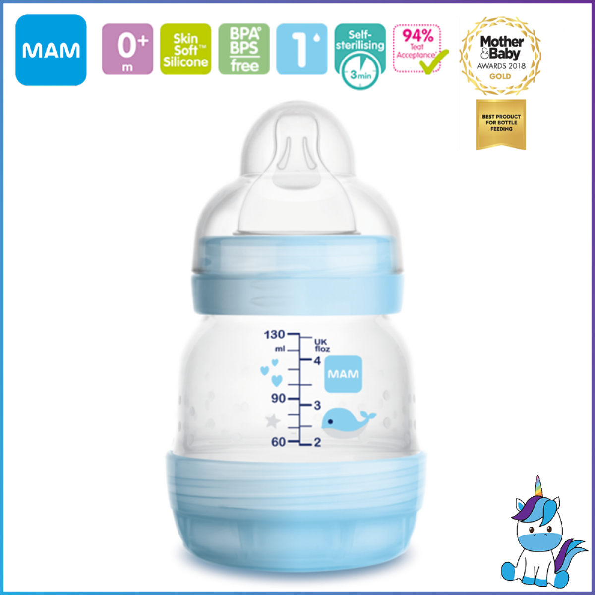 MAM Easy Start Anti-Colic Bottle with Teat 0 - (Single) 130ml