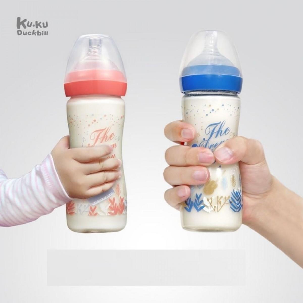Kuku Duckbill Glass Bottle 150ml/240ml (Dark Blue / Pink) - The Dream of You
