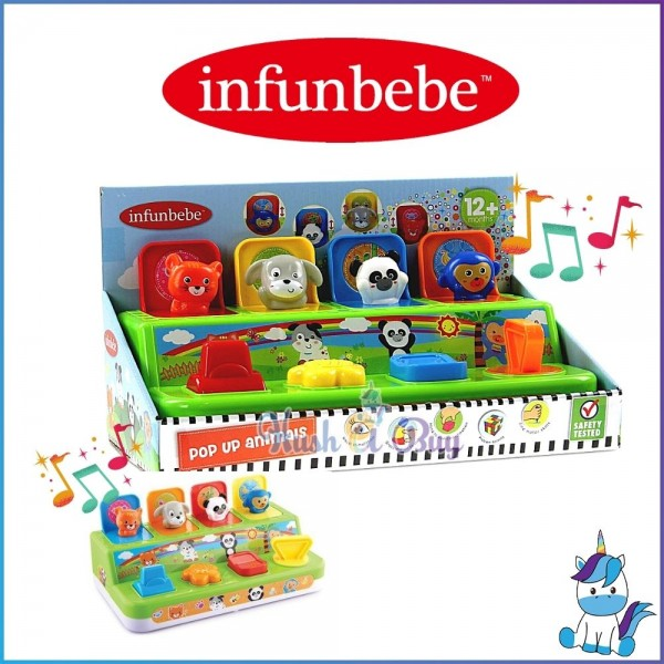 Infunbebe Pop Up Animals Toy for Baby 12m+