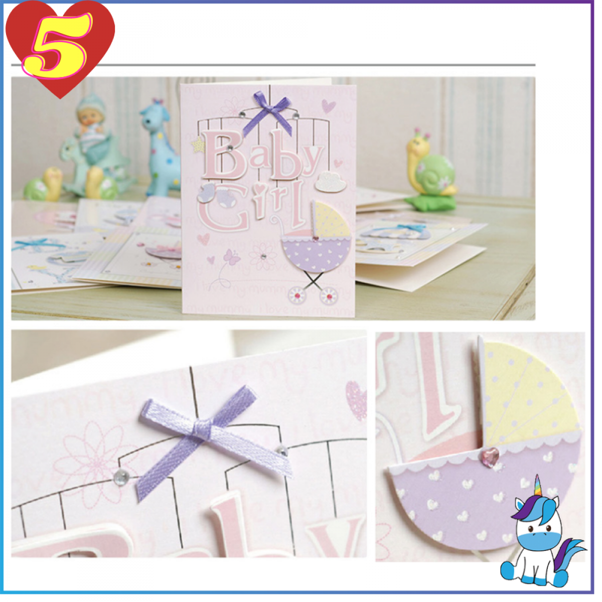 Baby Korean Creative Stereo Ribbon Fullmoon Wishing Greeting Card