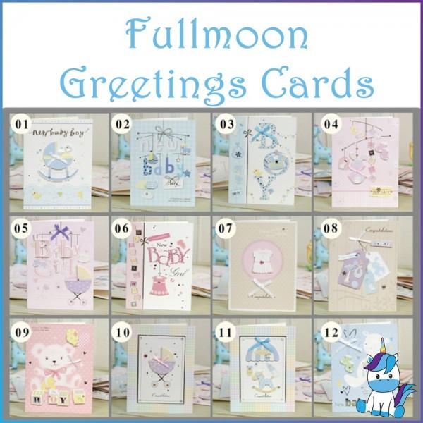 Baby Korean Creative Stereo Ribbon Fullmoon Wishing Greeting Card