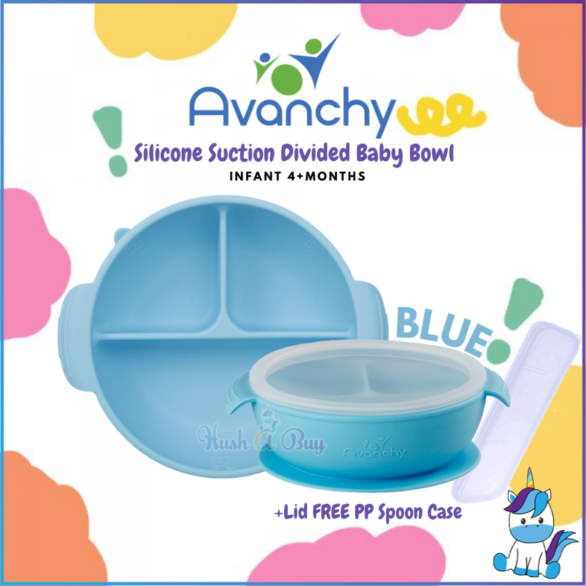 Avanchy Silicone Suction Divided Baby Bowl + Lid FREE PP Spoon Case