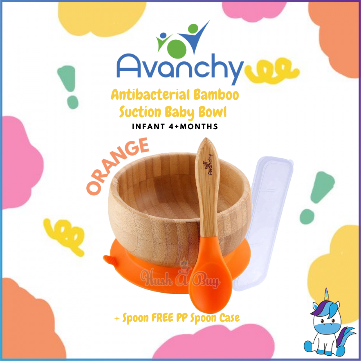 Avanchy Antibacterial Bamboo Suction Baby Bowl + Spoon FREE PP Spoon Case