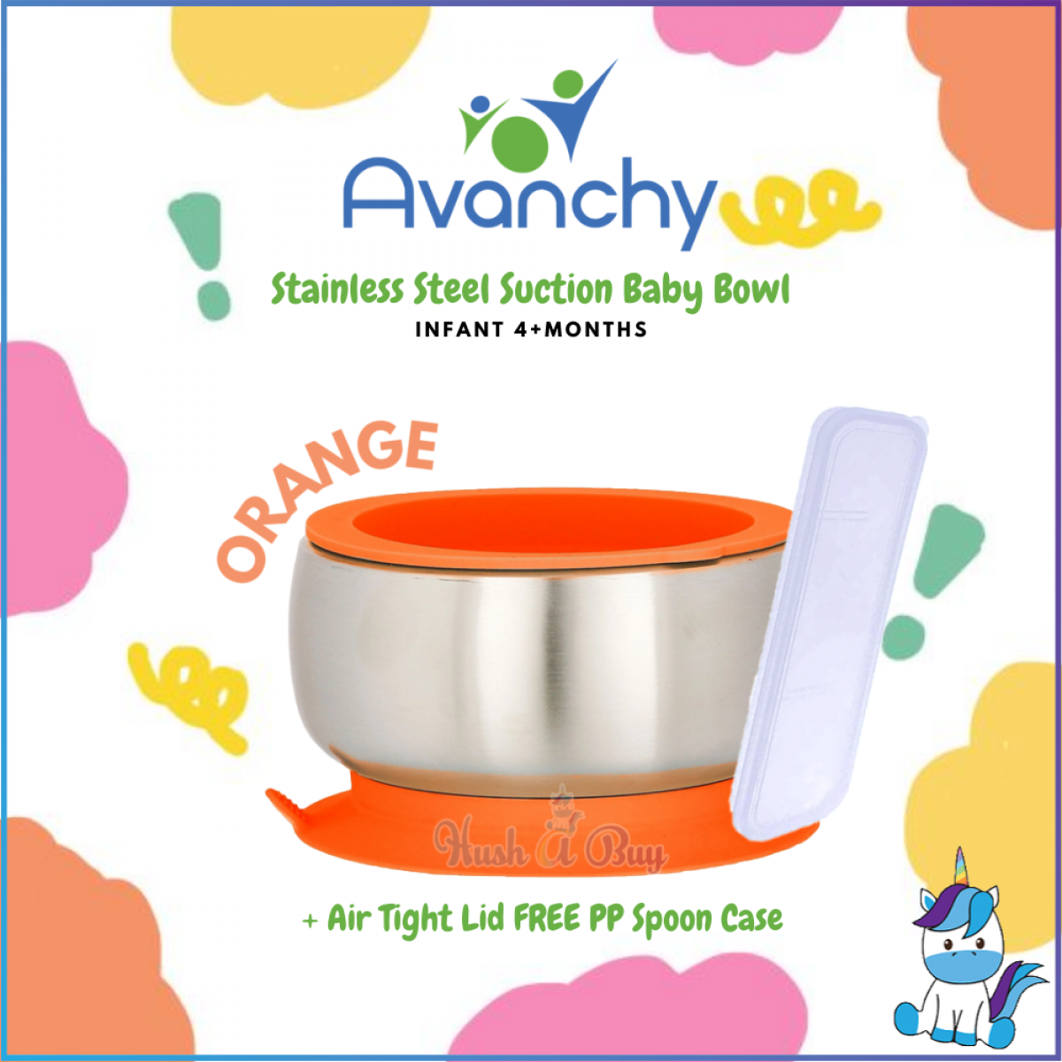 Avanchy Stainless Steel Suction Baby Bowl + Air Tight Lid FREE PP Spoon Case