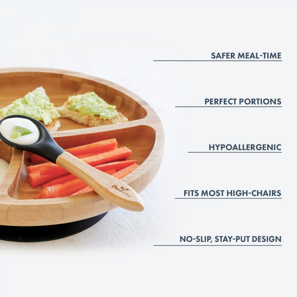 Avanchy Bamboo Suction Divided Toddler Plate + Spoon