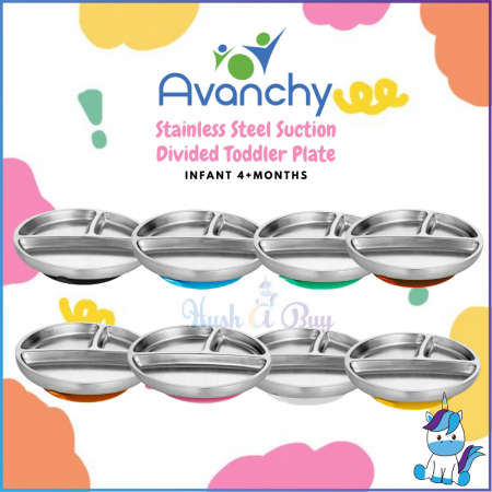 Avanchy Stainless Steel Suction Divided Toddler Plate +FREE PP Spoon Case