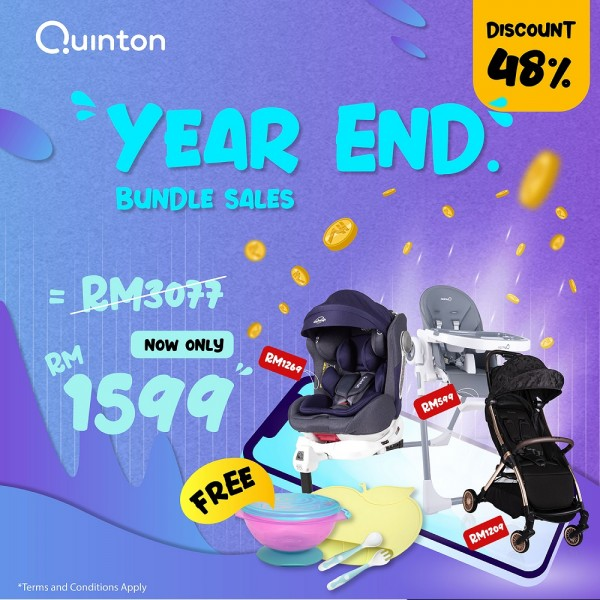 QUINTON One Spin +360 (Blue) + Coco High Chair (Grey) + Gold Fold Stroller (Black)