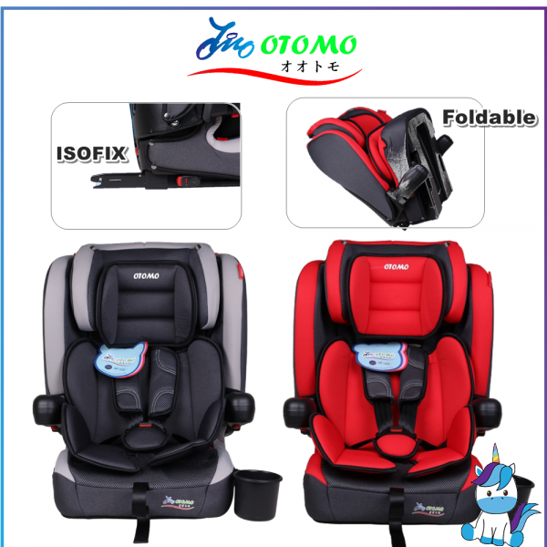 Otomo KBH305 Foldable Car Seat with non re-thread Headrest and with Isofix Group 1/2/3 (9-36kg) ECE R44/04