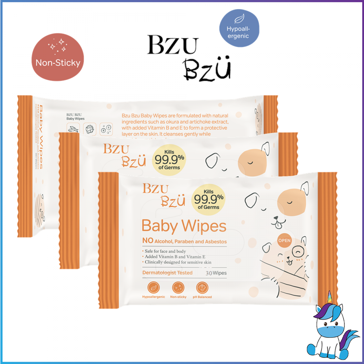 BZU BZU Baby Wipes 30s x 3packs - Product of Singapore Made in Malaysia