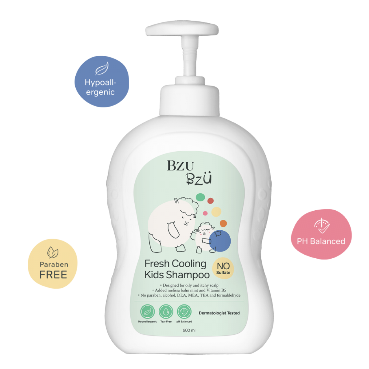 BZU BZU Fresh Cooling Kids Shampoo 600ml - Product of Singapore Made in Malaysia