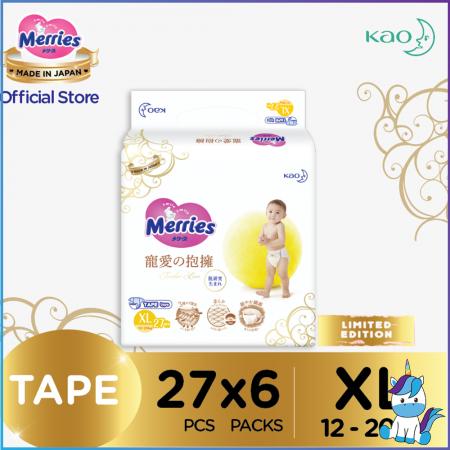 Merries Tender Love Tape Baby Diapers XL 27pcs (12 - 20kg) x 6 Jumbo packs