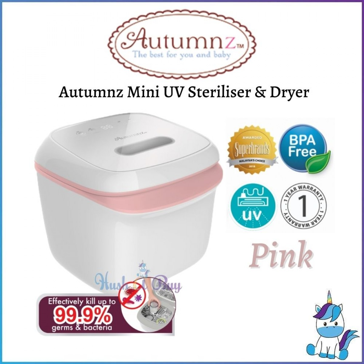 Autumnz Mini UV Steriliser & Dryer - Grey / Pink