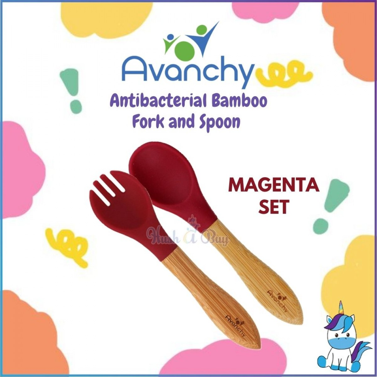 Avanchy Antibacterial Bamboo Fork and Spoon Set