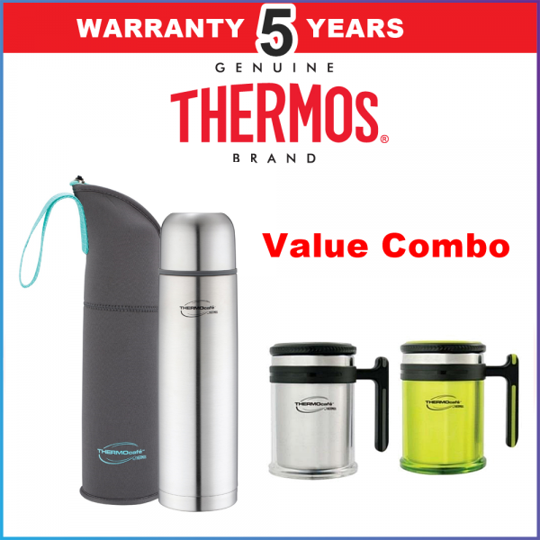 Thermos Thermocafe Stainless Steel Vacuum Insulated Tumbler with Pouch 350ml FREE DESTOP MUG